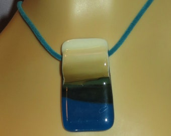 SANDY WATERS fused glass slider pendant