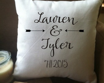 personalized wedding decorative throw pillow cover, couples, anniversary, cotton anniversary
