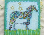 "rainbow horse-original, OOAK folk art painting, 8"" x 8"" canvas, ready to hang"