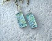 Pale Metallic Green Aqua Earrings, Dangle Drop Earrings, Green Earrings, Dichroic Earrings, Glass Earrings, Fused Glass Jewelry, 070715e100
