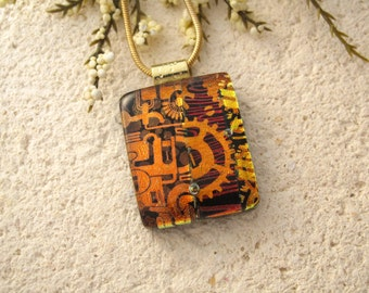 Golden Copper Red Dichroic Glass Necklace, Dichroic Jewelry, Dichroic Glass Necklace, Dichroic Jewelry, Glass, Gold Necklace 063015p100