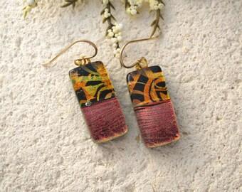 Red Copper Gold Earrings, Dangle Drop Earrings, Golden Auburn Earrings, Gold Filled, Dichroic Glass Jewelry,Dichroic Earrings 070115e108