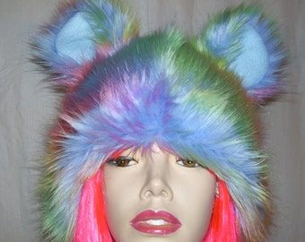 Rainbow Bear Hat Furry Pride Rainbow Mouse Animal Furries Costume Hat Gay Pride Parade Wig Mardi Gras Head Piece Pastel Adult Unisex Gift