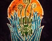 Batik Fiddle Heads in the Moon Light-  L