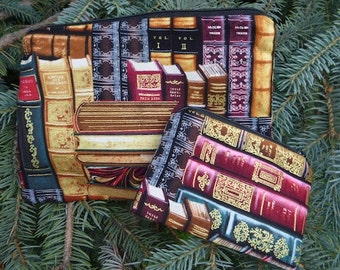 Classic Books zippered bags, matched set coin purse and makeup bag, multi use zip bags, Raven and Scooter