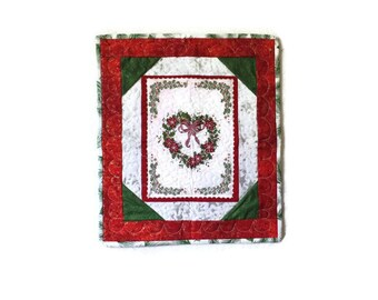 Patchwork Quilted Candlemat, Wallhanging, I Heart Christmas