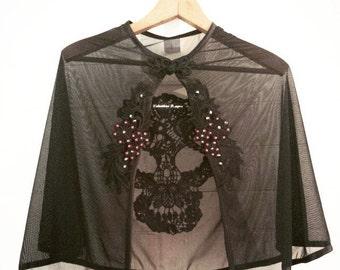 Burlesque/lingerie/boudoir bride Rockin' Ruby sheer crystal skull cape