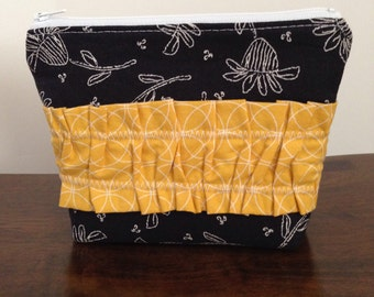 Zipper Pouch - Black and White Floral with Yellow Circles Ruffle