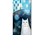 ORIGINAL large tall ABSTRACT white cat on BLUE table 24x12 acrylic on canvas by Tascha