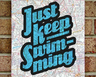 Just Keep Swimming' Finding Nemo Inspired Vintage Map Quote on Canvas Art