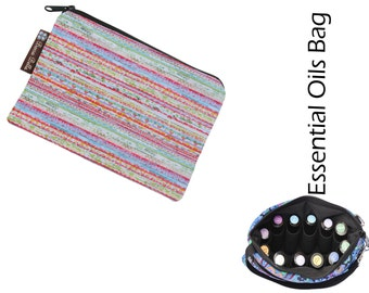 Essential Oil Bag - Essential Oil Pouch - Oil Bags - Waterproof lining fabric - Textured Stripes Fabric