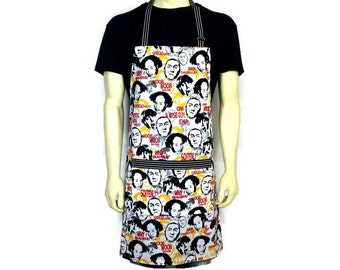 The Three Stooges , Full kitchen apron for men , Adjustable with pocket, Funny cooking decor