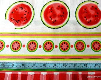 "One Half Yard Cut Quilt Fabric, Watermelon Round Slices on White, ""Mad for Melon"", Maria Kalinowski, Kanvas, Sewing-Craft-Quilting Supplies"