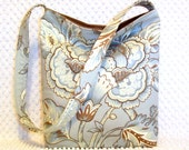Ladies Shoulder Bag - French Floral Jacobean Fabric Hobo Bag Purse - Pale Blue and Chestnut Brown Handbag - Handmade Ladies Fabric Purse