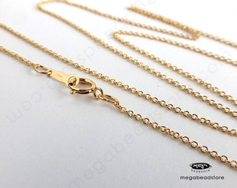 20 inch 1.1mm Cable Chain Finished Necklace 14K Gold Filled Markd 1/20 14K- FC24- 1 pc