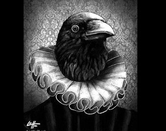 "Print 8x10"" - The Royal Raven - Crow Bird Dark Art Victorian Ruff Gothic Queen King Fantasy Surreal Lowbrow Horror Edgar Allan Poe"