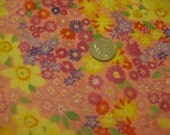 Purple and Yellow Flowers on Pink Fabric - 100% Cotton Fat Quarter