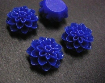 6pc Blue Resin Flower Cabochon-2570F
