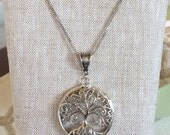 Round Stained Glass and Filigree Pendant - Tree of LIfe (SGT-P4) (Reserved listing for Fred)