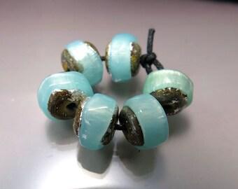 Handmade Lampwork Nugget Beads by GlassBeadArt … Green Opal Sparkling Rocks ... SRA F12 ... 10x12mm
