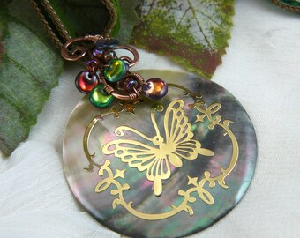 Butterfly Embossed Wire Wrapped Shell Disc Pendant