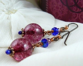 Raspberry Crackle Glass Earrings ~ Cobalt Blue Dangle Earrings ~ Pink Bead Earrings ~ Blue Bead Earrings ~ Rose Dangle Earrings