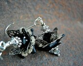 Black & Silver Lotus Earrings, Gothic Elegance, Dramatic Flower Earrings, Neutral Color, Faery Couture, Dark Crystal, Elksong Jewelry