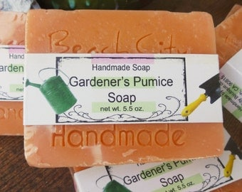 Exfoliating soap, scrub soap, vegan soap, handmade soap, cold process soap, gardeners soap, bar soap, garden supplies, gardeners soap