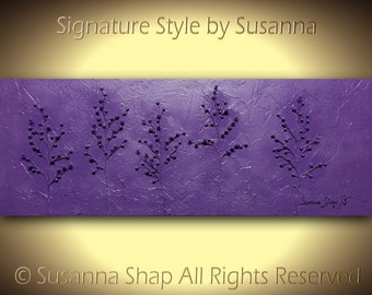 ORIGINAL Purple Trees Art Abstract Painting Landscape Oil Painting Texture Home Decor Large Modern Palette Knife Painting 48x18 ~Susanna