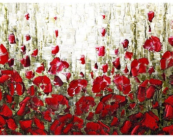 Abstract Impressionist Red Poppy Floral Landscape Art PRINT on Canvas Home Decor Wall Art Large Modern Contemporary Art by Susanna