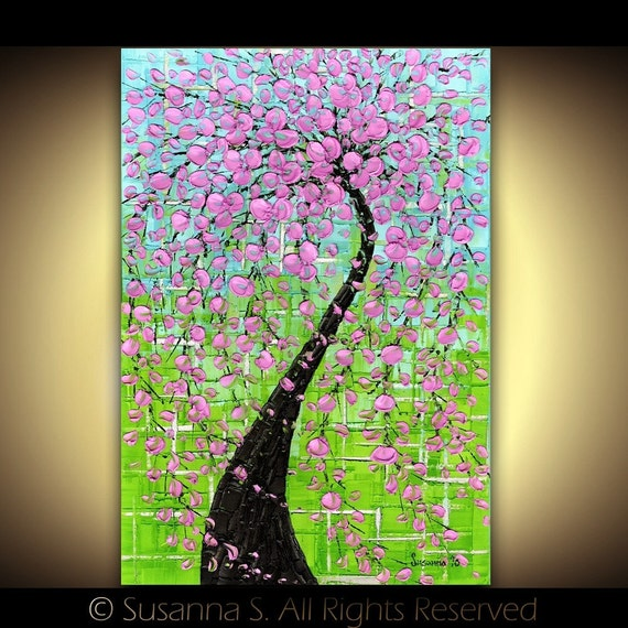 Pink cherry blossom tree art Wall Decor Giclee by ...