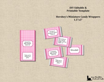 Baby Girl Shower Announcement Miniatures Candy Wrappers 1.5x3-Pink-Plaque Frame-Instant Download-MS Word Printable Editable Digital Template