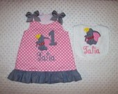 Dumbo Flying Elephant Applique Monogram Pink Dot A-line Dress with Gray Ruffle BIRTHDAY CIRCUS VACATION