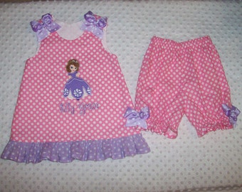 Sofia the First Applique Monogram Pink Dot A-line Top with Lavender Dot Ruffle and Bloomers Set Sophia Princess Birthday