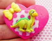 Little Baby Dinosaur - Pink Heart - Dinosaur - Polymer Clay Glitter Heart Brooch or Necklace