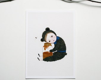 I Miss You Honey - archival mini print