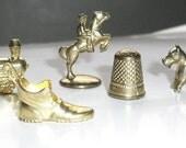 Five Gold Tone  Monopoly Tokens Altered Art, Mixed Media, Shoe, Thimble, Train, Dog