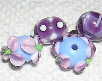 Assorted Lampwork beads PURPLE & BLUE 11-13MM (4)