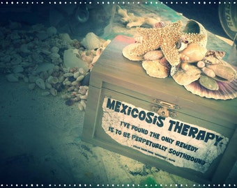 MEXICOSIS Therapy ~ Hand Painted Wood Treasure Box  Embellished with SeaShells and SeaDebris - Desktop Reminder