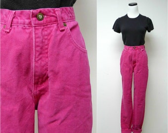 EXPRESS No. 4 . hot pink high waist cotton jeans . size 9.5 . made in USA