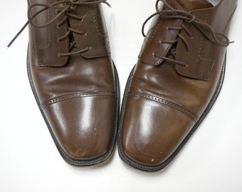 dark brown leather  dress shoes . size 10 1/2 M