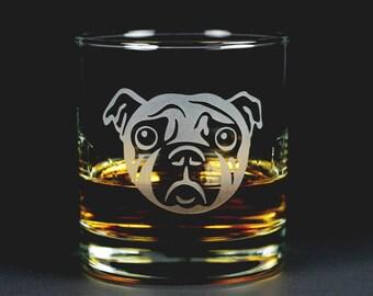Sad Pug Dog Lowball Glass