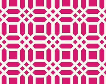 20% Off! Patty Young for Riley Blake FABRIC - Home Decor Canvas - Vivid Lattice - Fuchsia