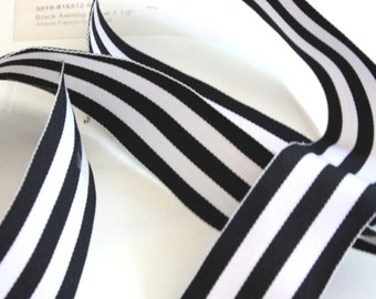 Grosgrain RIBBON - 1 1/2 Inch x 5 Yards - Black and White Awning Stripe
