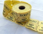 Destash Yellow Tickets for Handmade Embellishments Ephemera Collage Supplies Two Part Raffle Ticket Ephemera FREE Shipping