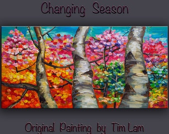 Landscape Painting Wall art Original abstract painting Changing Season forest Oil painting art Modern decor Wall hanging by Tim Lam 48x24