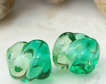 Lampwork Beads Green Two Tone Twists Pair