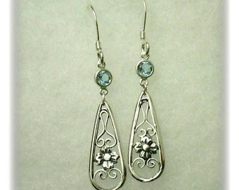 4mm Blue Topaz Gemstones in 925 Sterling Silver Dangle Earrings December Birthstone