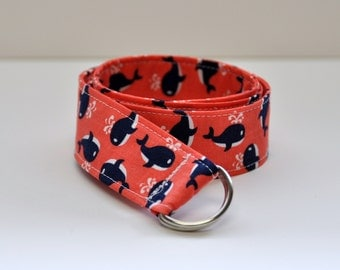 Boy's Belt, Kid's Belt, Nautical Belt, D Ring Belt, Coral and Navy Preppy Belt, Baby, Toddler, Little Boy
