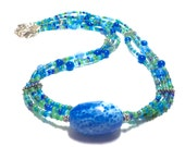 Three Strand Necklace with Blue Porcelain Focal Bead Boho Multi Strand Necklace Ethnic Multi Strand Necklace Tribal Multi Strand Necklace